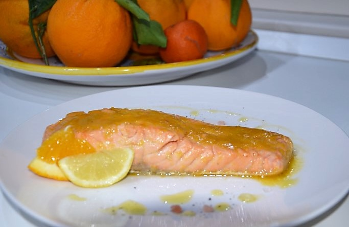 Filetto di salmone agli agrumi di sicilia