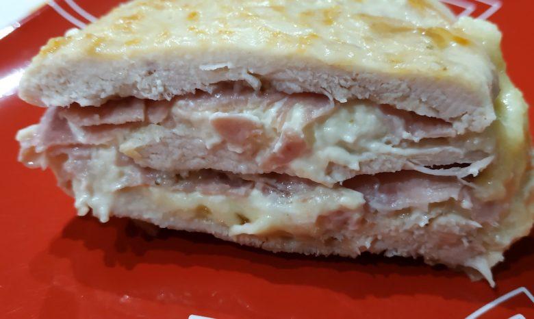 millefoglie di pollo con prosciutto e formaggio