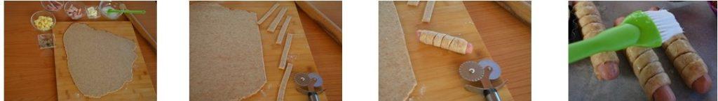 preparazione rustici pan brioche wurstel