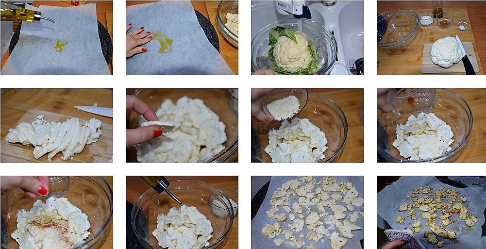 Preparazione patatine di cavolfiore